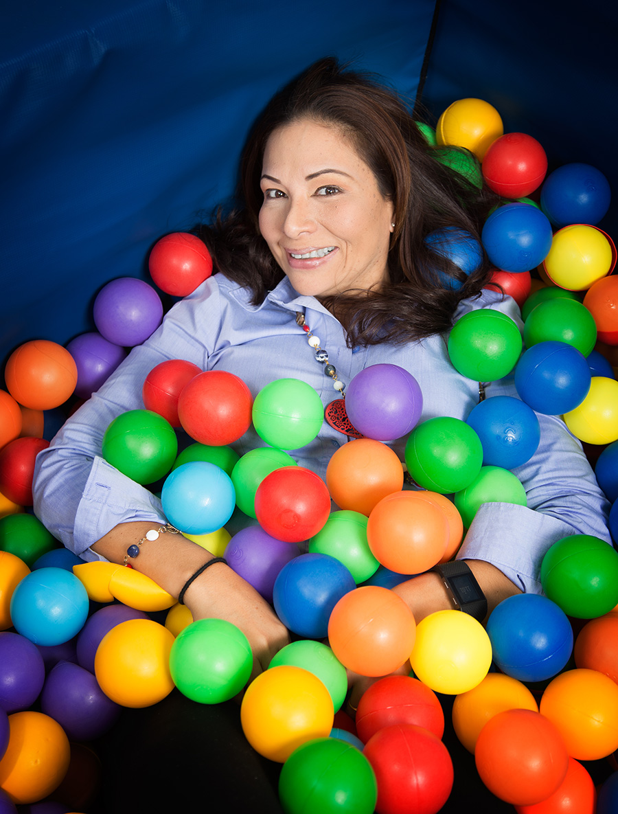 Sofia Figueroa-Leon in the ball pit at the Caribbean Kids and Families Therapy Organization's therapy centre. Make-up by Shenelle Escayg, photography by Mark Lyndersay.