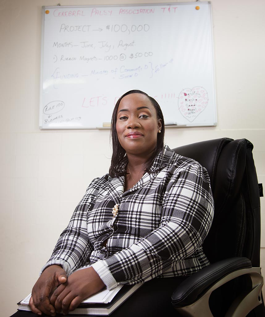 Crystal Jones in her office at the Cerebral Palsy Association's El Soccorro Headquarters. Make-up by Shenelle Escayg, photography by Mark Lyndersay