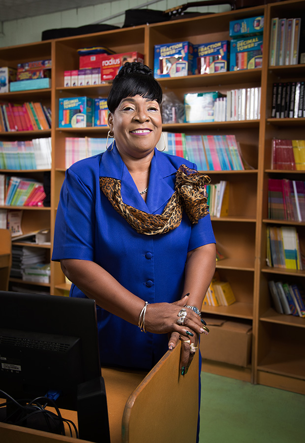 Margaret Adams Roberts photographed in the library and computer room of the Servol Special School, Calvary Hill, Laventille. Make-up by Shenelle Escayg, photography by Mark Lyndersay.