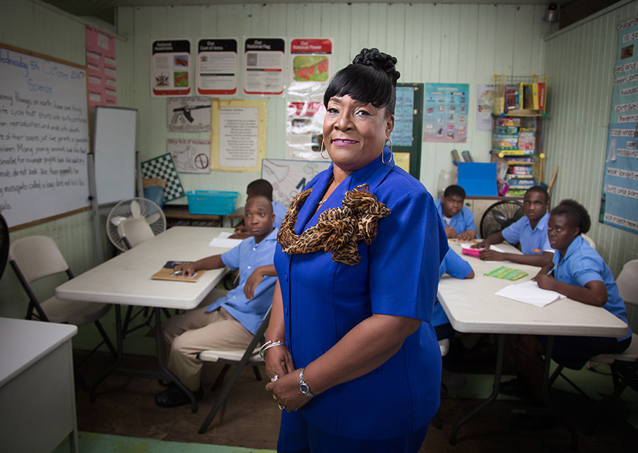 Margaret Adams Roberts photographed in a classroom of the Servol Special School, Calvary Hill, Laventille. Make-up by Shenelle Escayg, photography by Mark Lyndersay.
